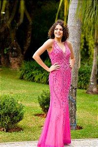 Vestido de Festa Pink  Longo Sereia Bordado Lena Aluguel