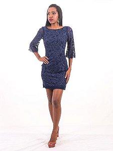Vestido de Festa Azul Marinho Curto Renda Nice