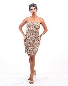 5707-Vestido Dourado Curto  Rebeca