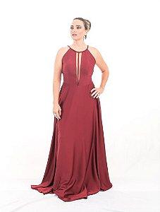 Vestido de Festa Marsala Longo Decote tule Liso Olimpia Aluguel