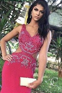 5811-Vestido Rosa Longo Beatrice
