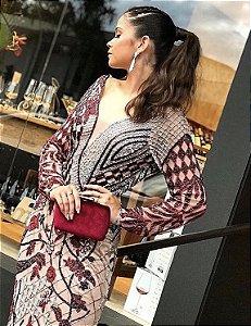 Vestido de Festa Marsala Longo Manga Bordado Demi Aluguel