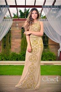 Vestido de Festa Dourado Longo Sereia Bordado Beyonce Aluguel