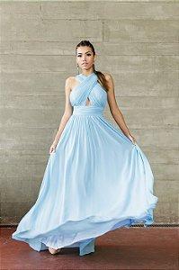 5886-Vestido Azul Longo Irlane
