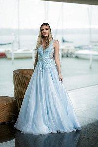 Vestido de Festa Debutante Azul Longo Bordado Cinderela Aluguel