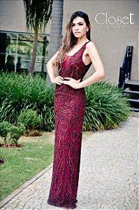 Vestido de Festa Marsala Longo Sereia Bordado Xenia Aluguel
