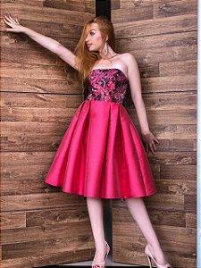 Vestido de Festa Coral Curto Renda Itália Loretta