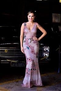 1508-Vestido Rosa Longo Rubi