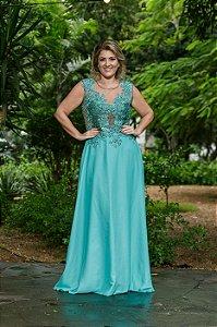 Vestido de Festa Plus Size Verde Longo  Bordado Carmelia