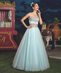Vestido de Festa Debutante Tiffany Dois em Um Cropped e Saiote Longo Bordado Aurora Aluguel