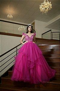Vestido de Festa Debutante Rosa Pink Dois em Um Longo Bordado Jasmine Aluguel