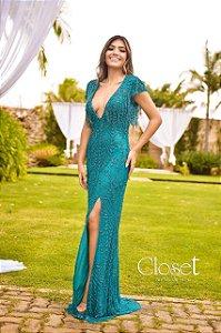 Vestido de Festa Verde Tiffany Longo Bordado Seline Aluguel