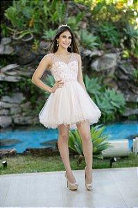 Vestido de Festa Debutante Rosa Rosé Curto Karine Aluguel
