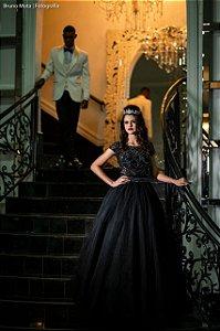 Vestido de Festa Debutante Preto Dois em Um Longo Bordado Ana Aluguel