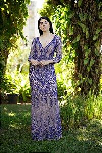 Vestido de Festa Azul Royal Longo Manga Bordado Nalva Aluguel