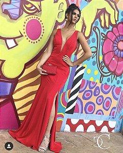 Vestido de Festa Vermelho Longo Sereia Liso Decote Fenda Justine