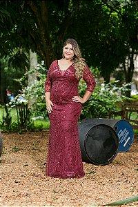 Vestido de Festa Plus Size Marsala Longo  Lelia Aluguel