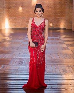 Vestido de Festa Vermelho Longo Sereia Bordado Decote Luma