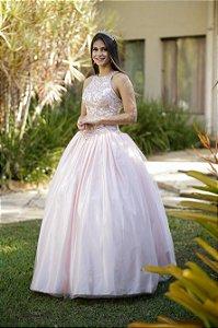 Vestido de Festa Debutante Rosa Longo Bordado Karine Aluguel