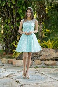 Vestido de Festa Debutante Verde Tiffany Curto Bordado Margarida Aluguel