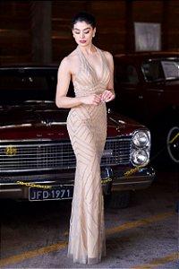 Vestido de Festa Dourado Longo Sereia Decote Bordado Georgia Aluguel
