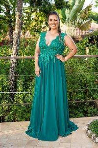 Vestido de Festa Plus Size Verde Longo Maria Leticia Aluguel