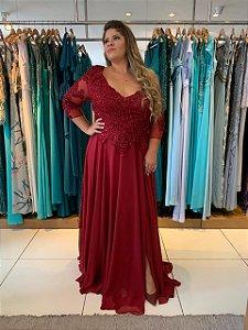 Vestido de Festa Plus Size Marsala Longo Renda Mercedes Aluguel