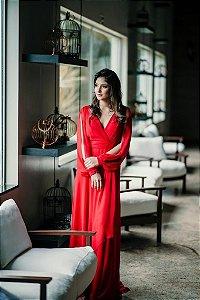 Vestido de Festa Vermelho Longo Liso Larissa