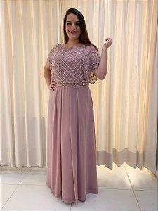 Vestido de Festa Plus size Rosa Longo  Bordado Mariza Aluguel