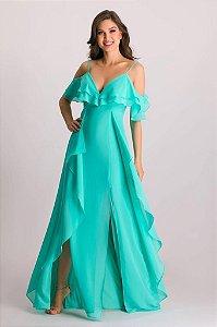 Vestido de Festa Verde Longo Liso Fendas Fluído Bina