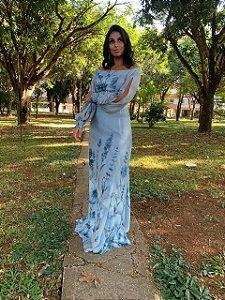 Vestido de Festa Estampado Azul Longo Manga Siena Aluguel