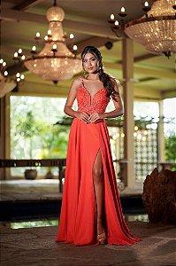 Vestido de Festa Coral Longo Bordado Liso Fenda Martina Aluguel