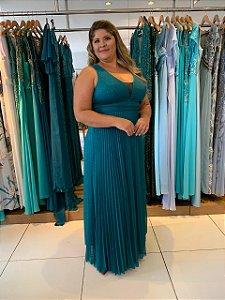 Vestido de Festa Plus Size Verde Longo Veridiana