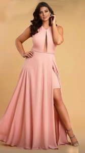 Vestido de Festa Rosé Longo Liso Fenda Liana