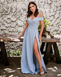 Vestido de Festa Azul Serenity Longo Liso Ticiane