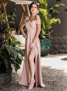 Vestido de Festa Rosê Longo Liso Ticiane