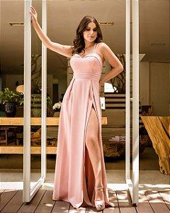 Vestido de Festa Rosê Longo Liso Fenda Rosita Aluguel