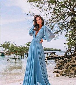 Vestido de Festa Liso Azul Splash Aluguel