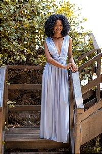 Vestido de Festa Liso Azul Serenity Clarisse Aluguel