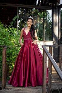 Vestido De Festa Debutante Katrine Marsala Aluguel