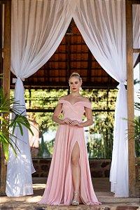 Vestido De Festa Evita Lurex Rosa