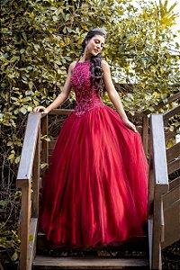 Vestido De Festa Debutante Karine Tule Marsala Aluguel