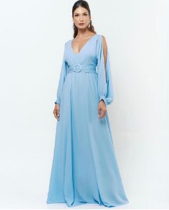 Vestido de Festa Longo Plus Size Com Mangas Milena Azul Serenity Aluguel