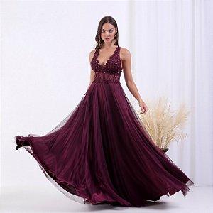 Vestido de Festa Theodora Marsala Longo Aluguel