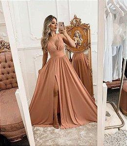 Vestido de Festa Rosa Longo Liso Fabiola