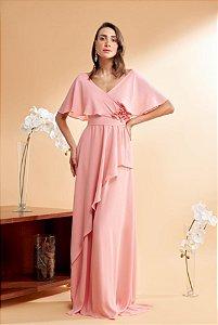Vestido De Festa Plus Size Carlota Liso Rosa