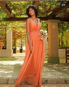 Vestido De Festa Kimberly Longo Liso Terracota