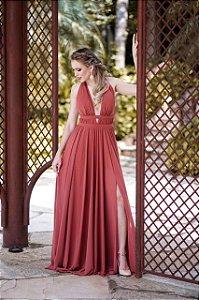 Vestido De Festa Longo Liso  Mariah Terracota Aluguel