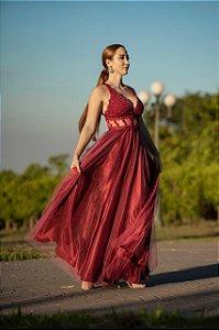 Vestido De Festa Longo Fucsia Theodora