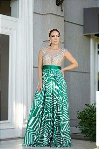 Vestido De Festa Longo Verde Estampado Kenia